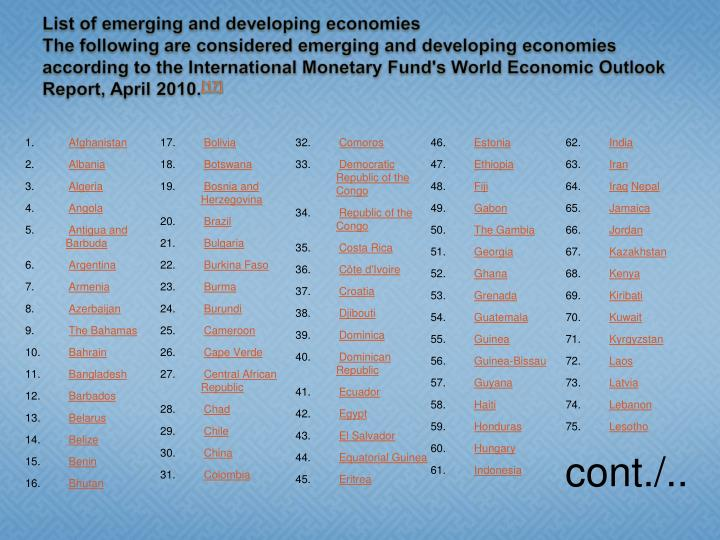 List of emerging and developing economies