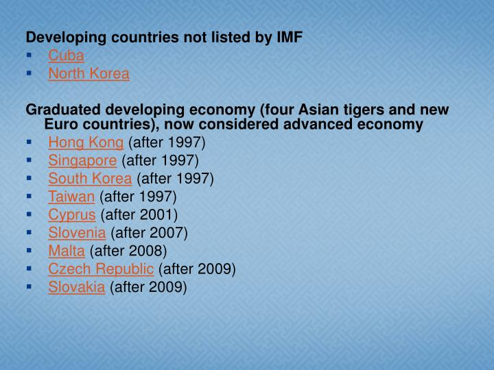Developing countries not listed by IMF