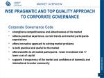 wse pragmatic and top quality approach to corporate governance