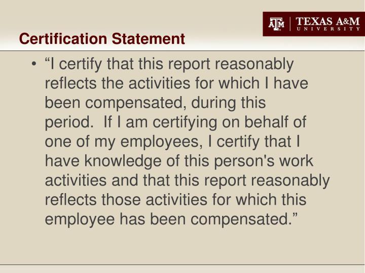 Certification Statement