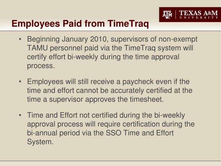 Employees Paid from TimeTraq