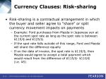 currency clauses risk sharing