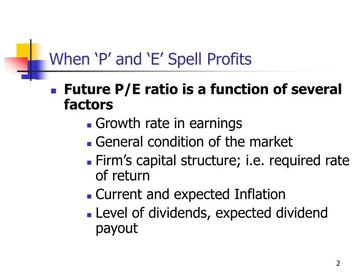 When p and e spell profits1