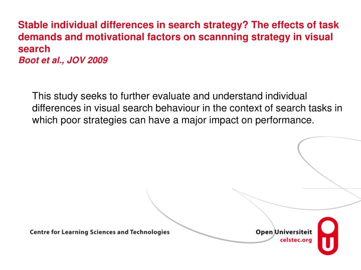 Stable individual differences in search strategy? The effects of task demands and motivational factors on scannning strategy in visual search