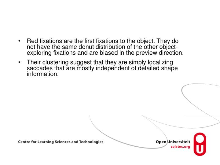 Red fixations are the first fixations to the object. They do not have the same donut distribution of the other object-exploring fixations and are biased in the preview direction.