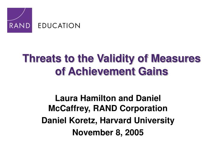 threats to the validity of measures of achievement gains n.