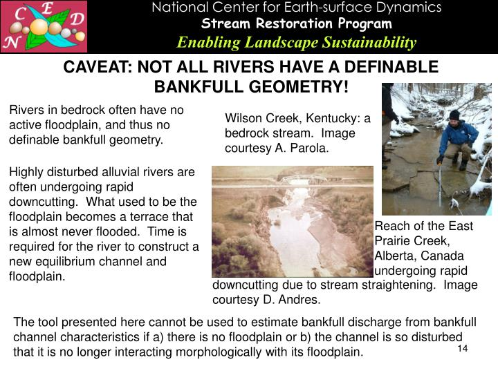 CAVEAT: NOT ALL RIVERS HAVE A DEFINABLE BANKFULL GEOMETRY!