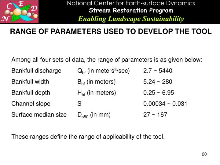 RANGE OF PARAMETERS USED TO DEVELOP THE TOOL