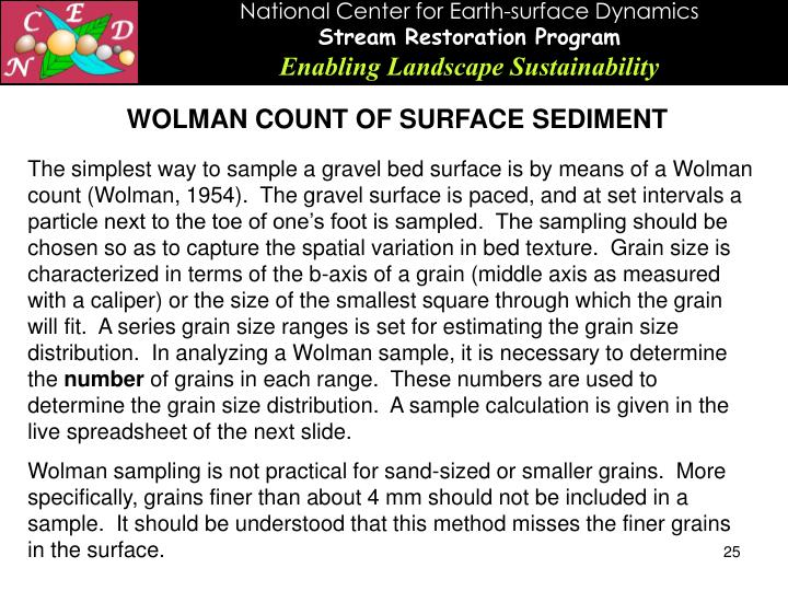 WOLMAN COUNT OF SURFACE SEDIMENT
