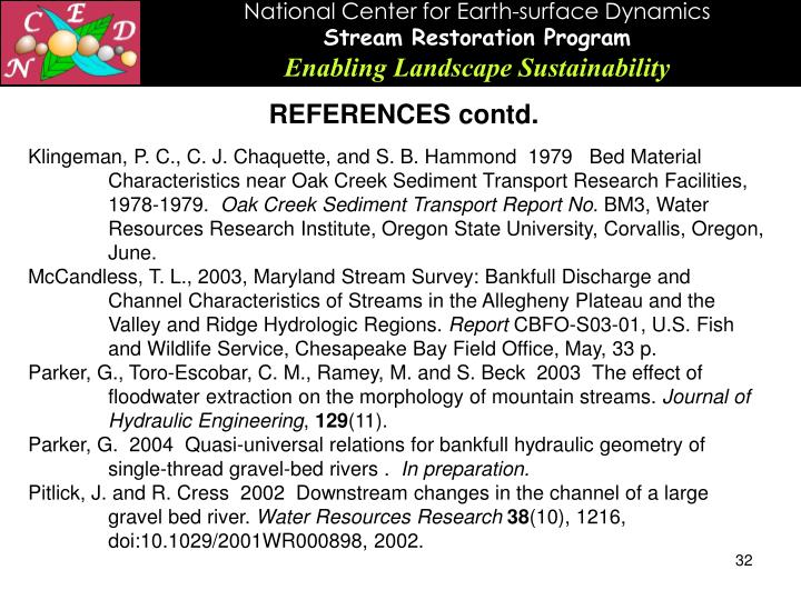REFERENCES contd.