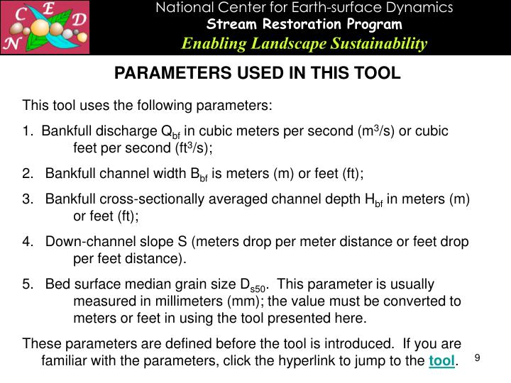 PARAMETERS USED IN THIS TOOL