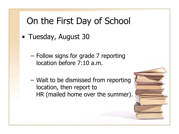 On the First Day of School