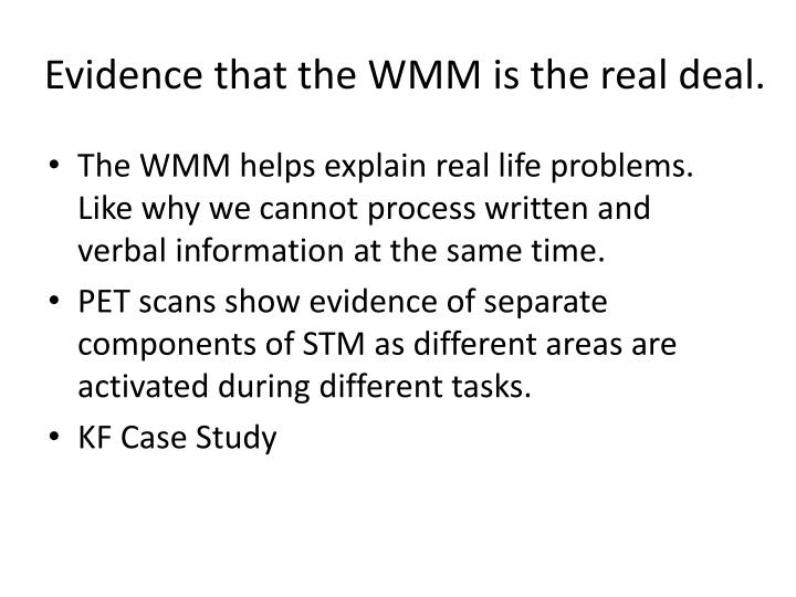 Evidence that the WMM is the real deal.