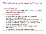 classifications of financial markets18