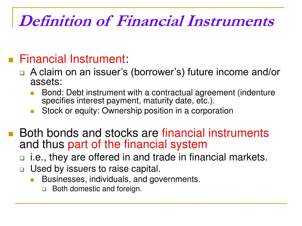 Definition of Financial Instruments
