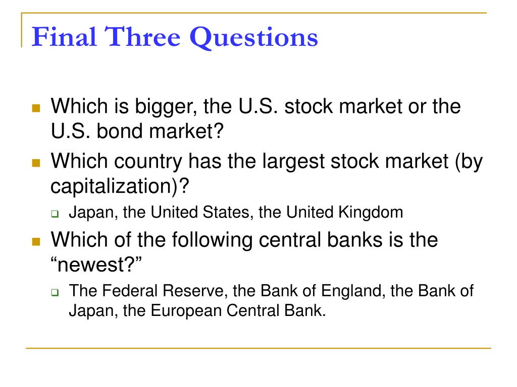 Final Three Questions