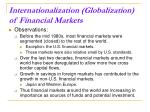 internationalization globalization of financial markets