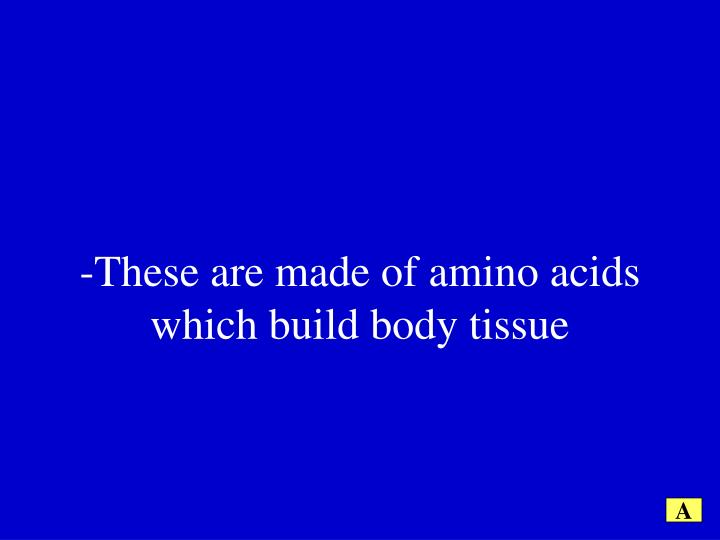 -These are made of amino acids which build body tissue