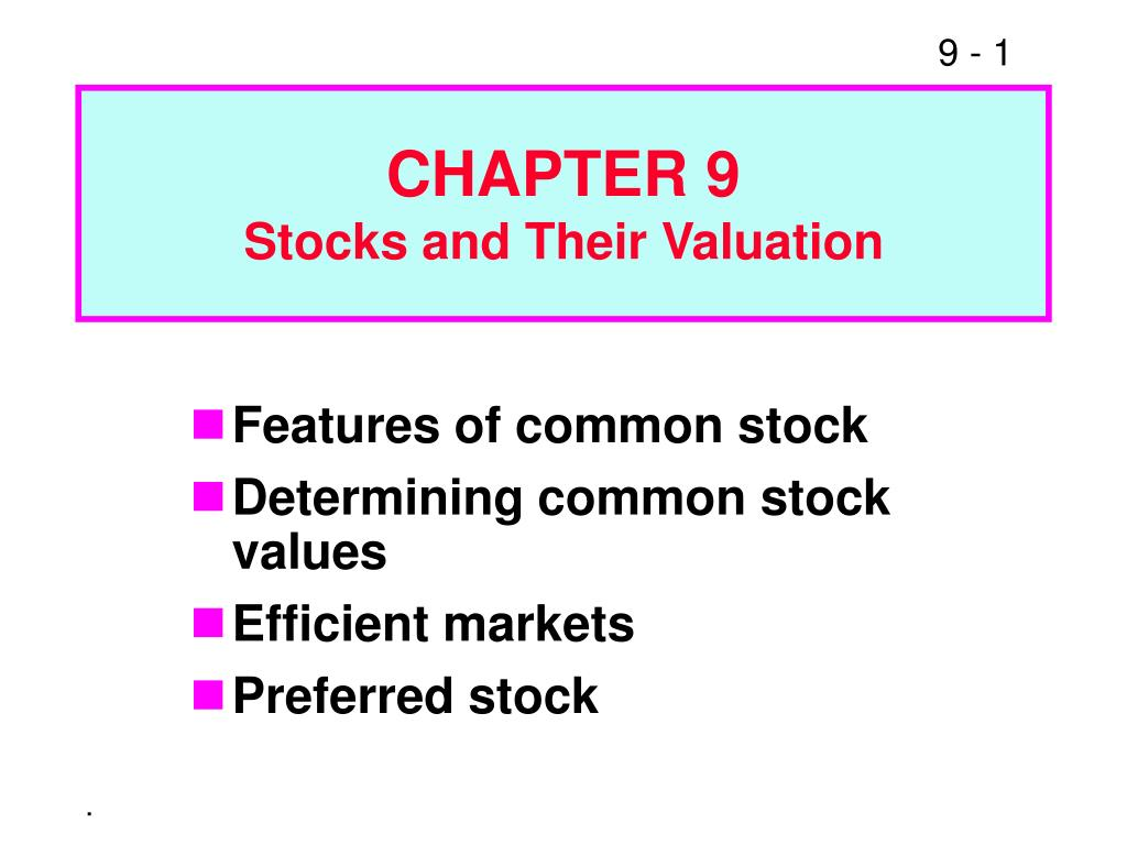 chapter 9 stocks and their valuation l.