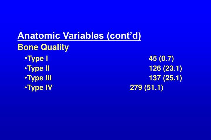 Anatomic Variables (cont'd)