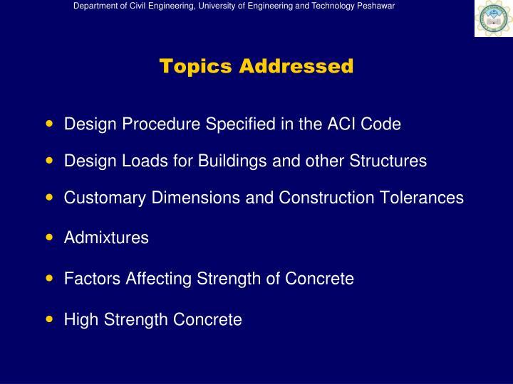 Topics addressed1