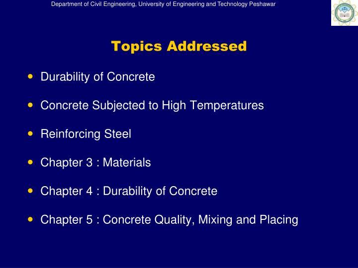 Topics Addressed