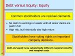 debt versus equity equity