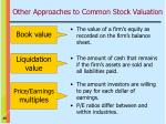 other approaches to common stock valuation