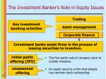 the investment banker s role in equity issues