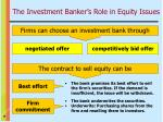 the investment banker s role in equity issues9