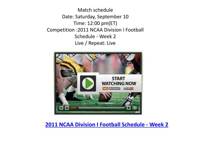 2011 ncaa division i football schedule week 2