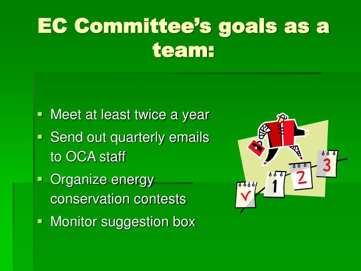 EC Committee's goals as a team: