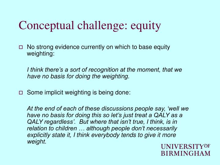 Conceptual challenge: equity