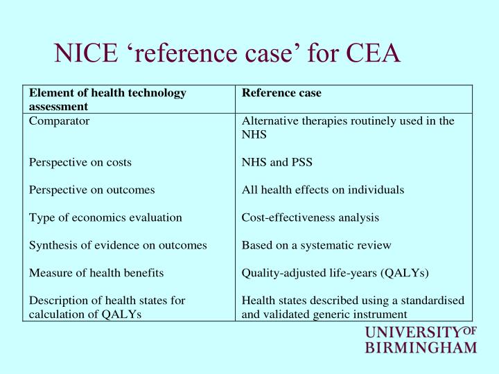 NICE 'reference case' for CEA