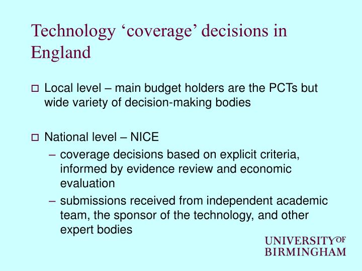 Technology 'coverage' decisions in England