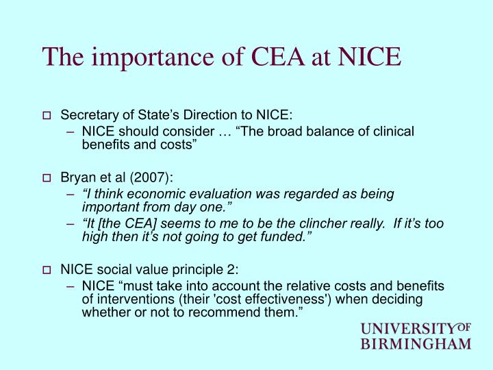 The importance of CEA at NICE