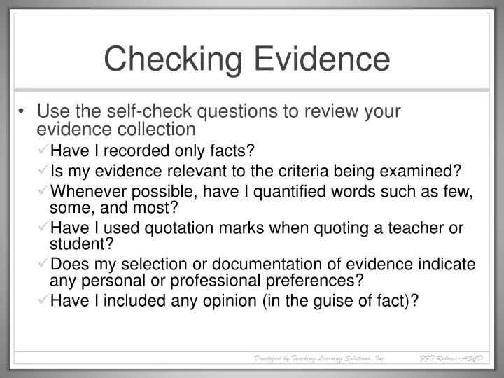 Checking Evidence