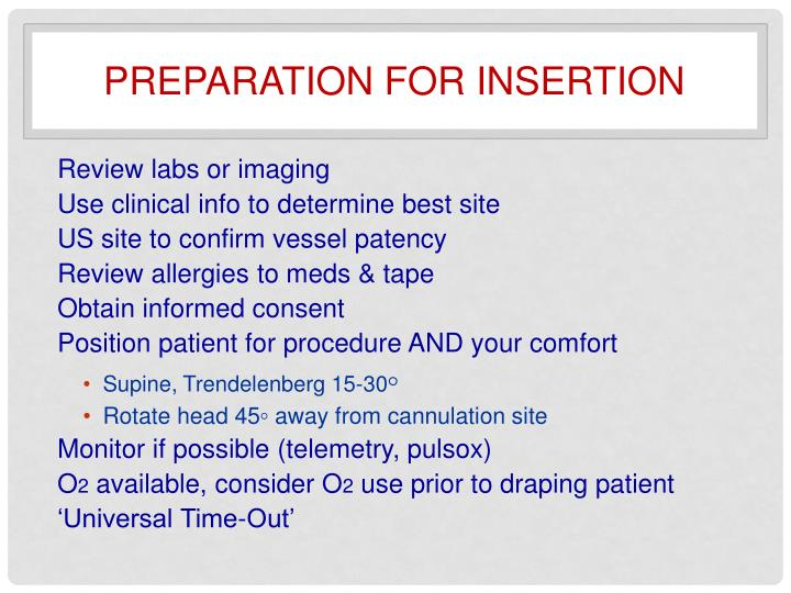 Preparation for insertion