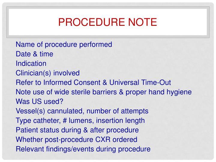 Procedure note