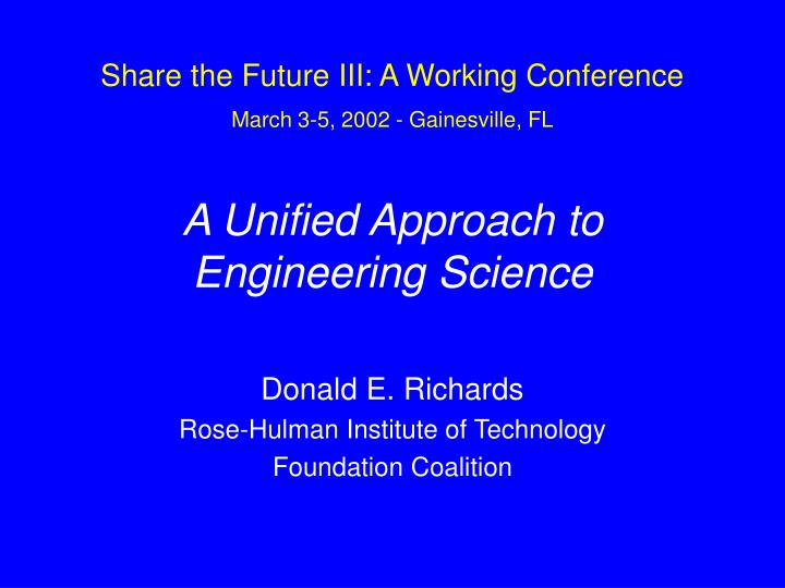 a unified approach to engineering science n.