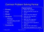 common problem solving format