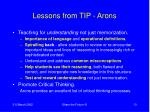 lessons from tip arons