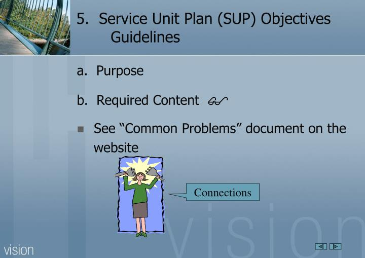 5 service unit plan sup objectives guidelines