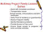 mckinney project family liaisons duties