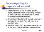 issues regarding the corporate value model
