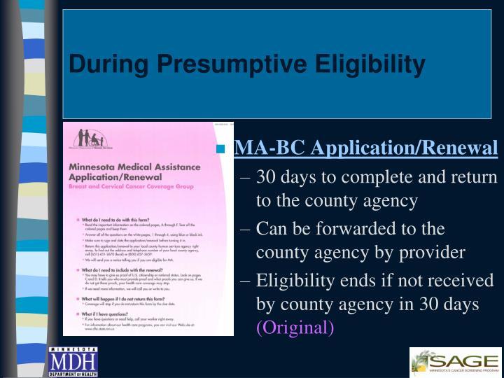 During Presumptive Eligibility