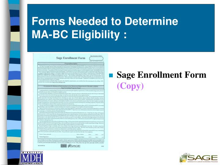 Forms Needed to Determine