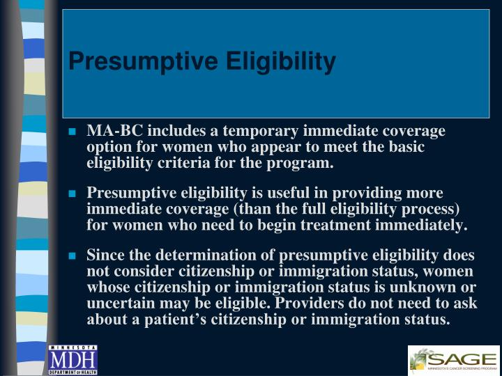 Presumptive Eligibility