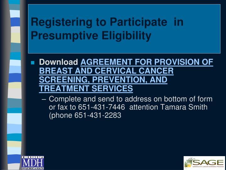 Registering to Participate  in Presumptive Eligibility