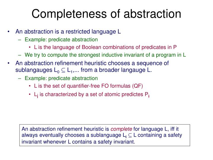 Completeness of abstraction